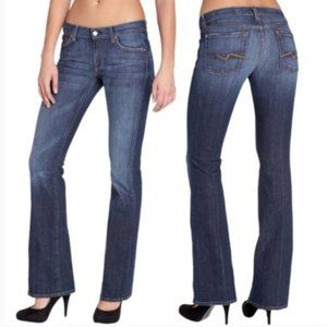 7 For All Mankind Long Bootcut Dark Mid Rise Jeans
